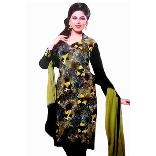 Black Embroidered Georgette Dress Material
