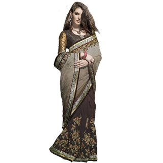 Designer Maroon and Grey embroidered georgette saree with blouse piece