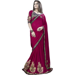 Designer Red embroidered georgette saree with blouse piece