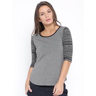 Cult Fiction Grey Mel Color Tshirts For Women