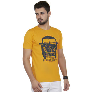 Cult Fiction Men's Yellow Round Neck T-Shirt