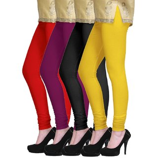 Viba London Solid Color Legging Combo of  4