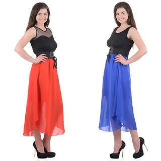 Westchic Womens Black with Royal Blue and Red LS Long dress combo
