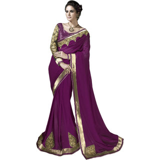 Designer Purple embroidered georgette saree with blouse piece