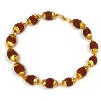 Rudraksha Bracelet With Golden Cap
