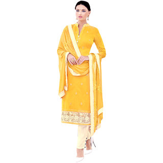 Sareemall Yellow Cotton Embroidered Salwar Suit Dress Material