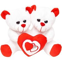 Tabby Toys Cute Couple Teddy With Heart  - 22 cm (White, Red)