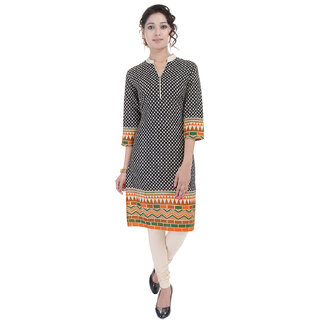 Beautiful Printed Cotton Black Kurtifrom the House of AnjaniStyles