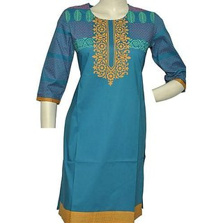ANGELS COLLECTION Beautiful Cotton Printed Kurti colour blue