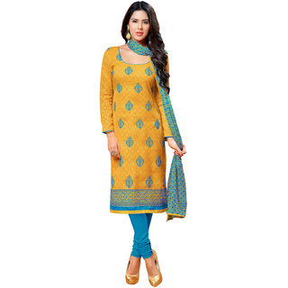 Masturd Yellow Embroidered Dress Material With Matching Dupatta