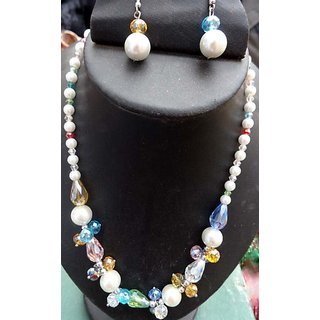 Multicoloured Crystal Pearl Necklace Set With Matching Tops