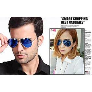 Full Blue Mirrored Aviator Sunglasses Dark Tint Lens Silver Frame UV400