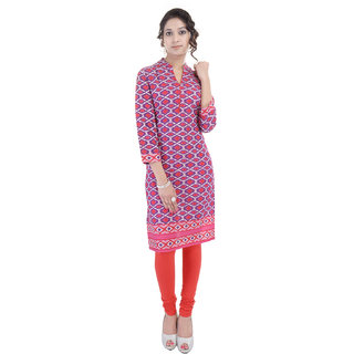 Beautiful Printed Cotton Pink Kurtifrom the House of AnjaniStyles