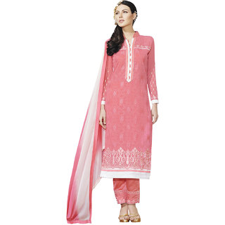 Sareemall Pink Georgette Embroidered Salwar Suit Dress Material