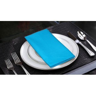 Lushomes Bachelor Button Cotton Plain 6 Table Napkins Set (Dinner Napkins)