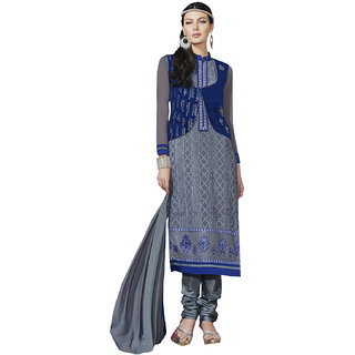 Sareemall Gray Georgette Embroidered Salwar Suit Dress Material