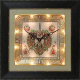 ECraftindia Cryctal Studded Marble Wall Clock With Kundan Work & Peocock