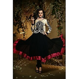 Art Silk And Faux Georgette Anarkali Suit In Light Beige Colour