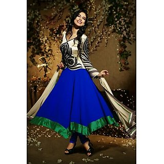 Art Silk And Faux Georgette Anarkali Suit In Light Beige And Blue Colour
