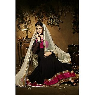 Faux Georgette Anarkali Suit In Black Colour Design 1