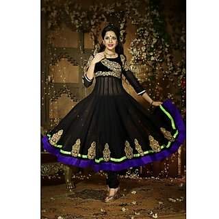 Faux Georgette Anarkali Suit In Black Colour Design 2