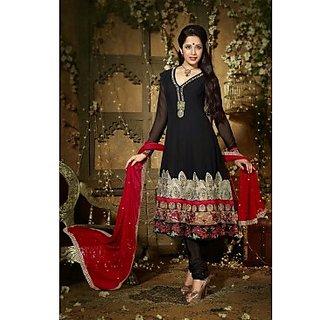 Faux Georgette Anarkali Suit In Black Colour Design 3