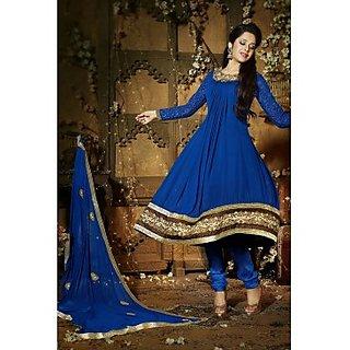 Faux Georgette Anarkali Suit In Dark Blue Colour