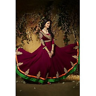 Faux Georgette Anarkali Suit In Dark Maroon Colour