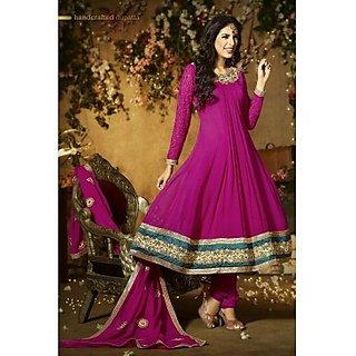 Faux Georgette Anarkali Suit In Dark Pink Colour