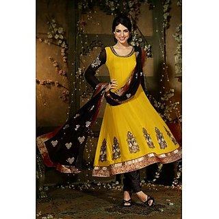 Faux Georgette Anarkali Suit In Dark Yellow Colour