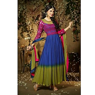 Faux Georgette Anarkali Suit In Shaded Blue Colour