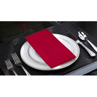 Lushomes Rasberry Cotton Plain 6 Table Napkins Set (Dinner Napkins)