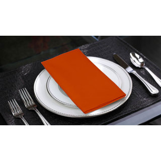 Lushomes Red Wood Cotton Plain 6 Table Napkins Set (Dinner Napkins)