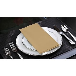 Lushomes Sand Cotton Plain 6 Table Napkins Set (Dinner Napkins)