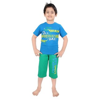 Punkster Blue And Green Graphic Print Nightwear For Baby Boys