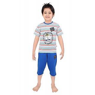 Punkster Royal Blue Striped Nightwear For Baby Boys