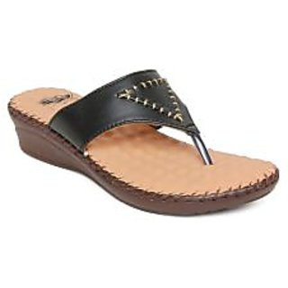 Vendoz Orthopedic and Diabetic Black Sandals