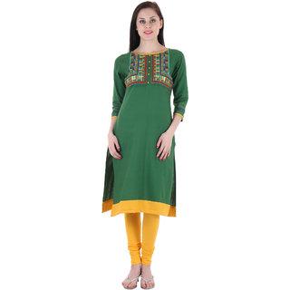 Prakhya Embroidered Womens Long straight Flex kurta-SW872GREEN