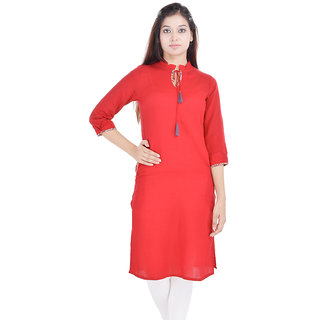 Beautiful -Red-Cotton-Kurti-From the House of Abhiprai