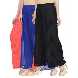 Skyline Pack Of 3 Pink, Blue  Black Georgette Palazzo Trousers (SkylineCSDPLZOB235)