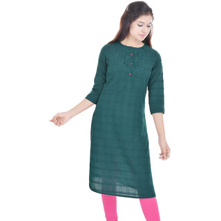 Beautiful -Green-Cotton-Kurti-From the House of Abhiprai