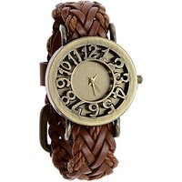 Round Dial Brown Leather Strap Womens Quartz Watch