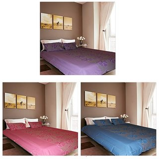 Akash Ganga Beautiful Cotton 3 Double bedsheets with 6 Pillow Covers (F4)