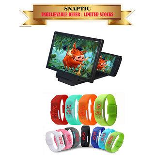 Buy 1 Black 3D Mobile Screen Magnifier Get 1 LED Waterproof Jelly Watch Free