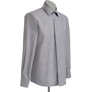 MuHeNeRa Regular Fit Dark Grey Feature Rich Men's Shirt