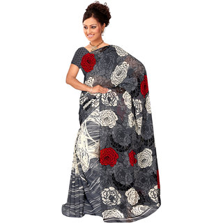 Lovely Look Grey  White Printed Saree LLKKHM2165