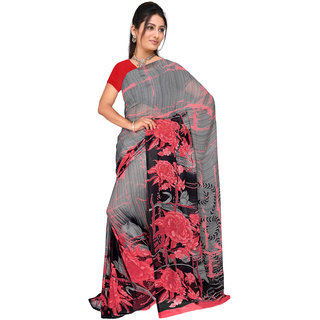 Lovely Look Grey  Pink Printed Saree LLKKHM2169
