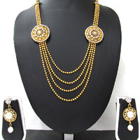 Golden 4 line stone pearl brooch necklace set