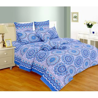 Salona Bichona 100 Cotton Double Bedsheet with Two Pillow Covers E-166B