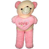 Empreus jumbo 90 cm Pink and cream teddy bear with Pink heart